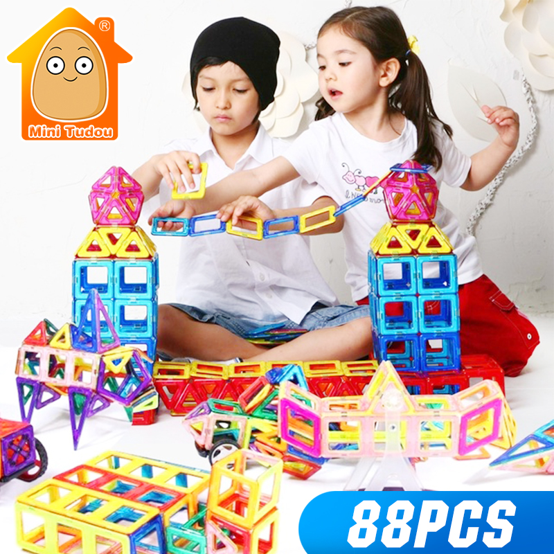 Minitudou New Arrival Magnetic Building Blocks Toy 88PCS 3D DIY Constructor Kids Enlighten Bricks Educational Game Gifts susengo magnetic toy building enlighten block designer 358pcs magnet bars