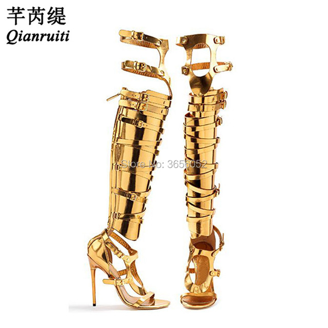 4784db5731e Qianruiti Metallic Buckle Strappy Gladiator Sandals Black Silver Gold Thigh  High Boots Summer High Heels Cut Outs Shoes Woman