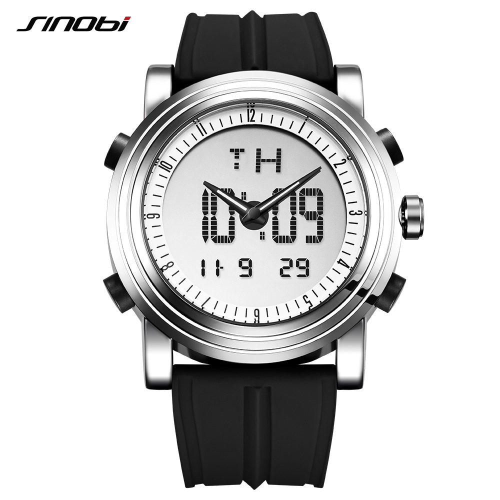 SINOBI Mens Watches Top Brand Luxury Digital Analog Display Silicone Band Fashion Hybird Watch Man Chronograph Relogio Masculino
