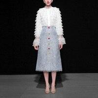 High Quality Designer Runway Suit Set Women 2019 Spring Elegant Long Sleeve Ruffles Lace Top+Tassel Tweed Woolen Skirt 2pcs Sets