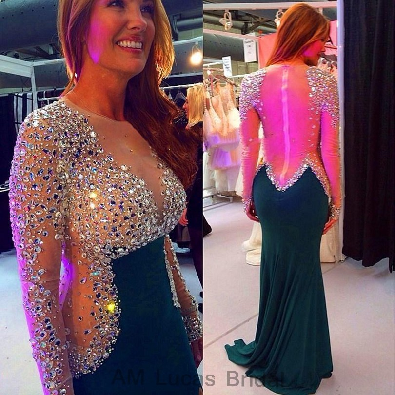 Sexy 2017 Mermaid Evening Dresses With Long Sleeves Vestido De Festa Princess Style Formal Gowns For Wedding Party Dresses