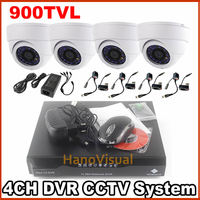 4CH Security CCTV System 4Pcs 900TVL CCTV Camera With IRCUT Filter Color Image Night Vision 4