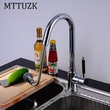 MTTUZK кухня латунь хром кран кран, вытащить кухонный кран горячей и холодной воды смесителя на бортике бассейна кран torneira