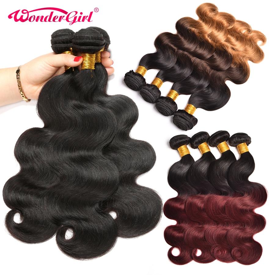 Ombre Hair Bundles Peruvian Body Wave 3 Bundles Deals 1B Burgundy Peruvian Human Hair Bundles Wonder