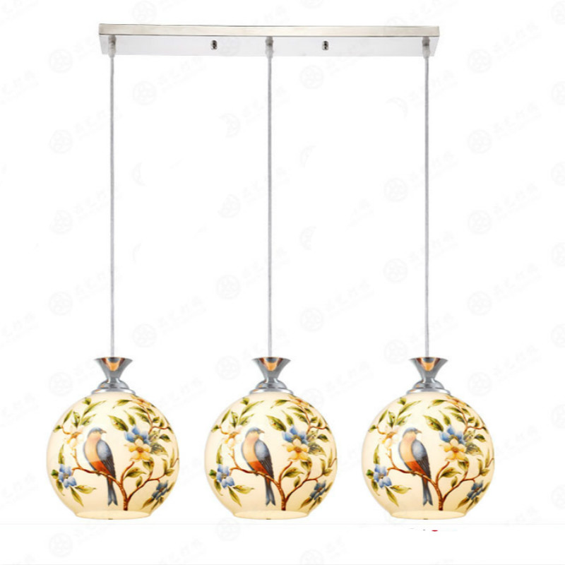 ФОТО Retro Art Classical Chinese Creative Hand Painted Birds Glass Led E27 Pendant Light For Dining Room Living Room 80-265v 2052