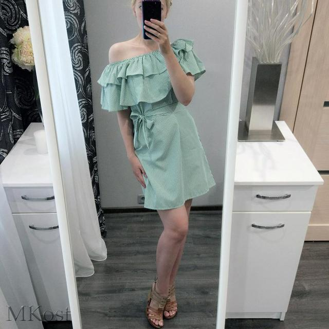 4 colour 2017 Summer Fashion Women's New Striped Dresses Sexy Ruffle Dress Casual Style Comfortable Pretty Canonicals with belt