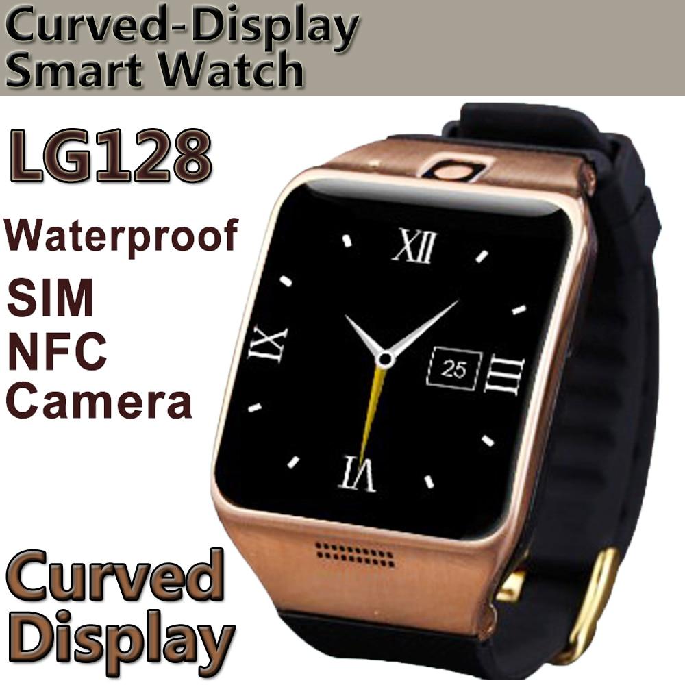 LG128 Montre Intelligente portable avec NFC, Support Carte SIM 1.3mp Caméra Capture À Distance Sommeil Moniteur Étanche Montre-Bracelet