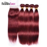מראש בצבע גברת אופנה צבע אדום ברזילאי 4 חבילות עם סגירה 33 # אדם שיער Weave ישר עם תחרת Clousure הלא רמי