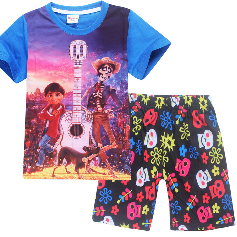 Summer Beach Children Baby Boys Cartoon Clothes Kids Character Short Sleeve Shirts Coco Printed Clothing Sets Child Sport Suits