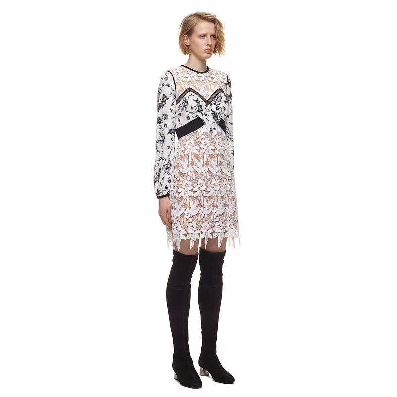 b6d8f58ce8ee Self-portrait Millie Layered Guipure-lace Dress Woman Crochet Floral Lace  Dress Brand Embroidery Midi Vestidos Women QWA0872-4