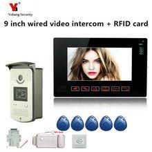 Yobang bezpieczeństwa freeship 9 wideo domofon do drzwi System z 1 czarny Monitor 5 szt RFID RFID systemu dostępu dzwonek aparatu tanie tanio Przewodowy Cmos Głośnomówiący Jeden do jednego wideo domofon Kolor Brak Do Montażu na ścianie Cyfrowy 9010MEID11B5