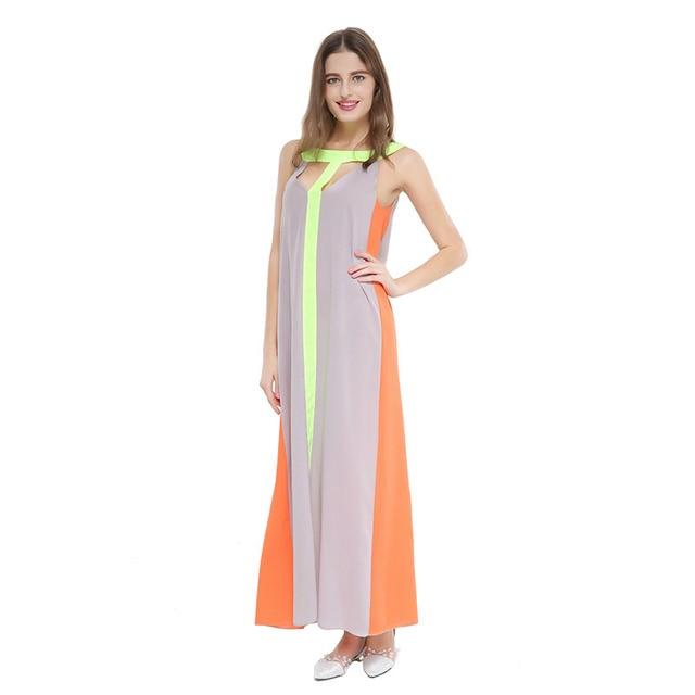 Summer chiffon dresses 2018 hot sell ebay Amazon bursts women s European  and American stitching sexy thin long dress 9025 b04f14e11752