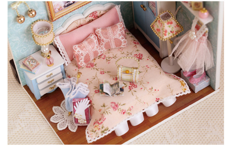 DIY Wooden Doll House Miniature Furniture Toy 3D Handmade Miniaturas Dollhouse Assemble Kit Toys for Birthday Gifts Happy Moment (7)