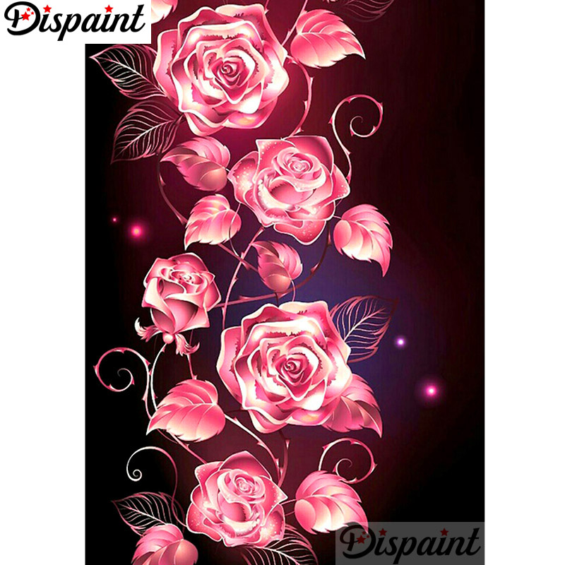 Dispaint Full Square Round Drill 5D DIY Diamond Painting quot Pink flower quot Embroidery Cross Stitch 3D Home Decor A10958 in Diamond Painting Cross Stitch from Home amp Garden