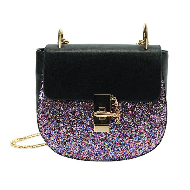 Aliexpress Com Buy Chain Sequin Saddle Women Bag Pu