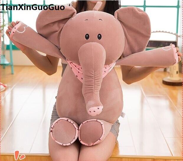 large 65cm font b cute b font gray elephant plush toy cartoon scarf elephant down cotton
