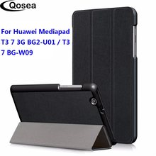 Qosea For Huawei Mediapad T3 7 3G BG2-U01 PU Leather Smart Stand Case For Huawei Mediapad T3 7 3G BG2-W09 Tablet PC Coque Cover(China)