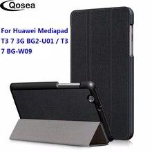 Qosea Huawei Mediapad T3 7 3G BG2 U01 PU deri akıllı standı kılıf Huawei Mediapad T3 7 3G BG2 W09 Tablet PC Coque kapak