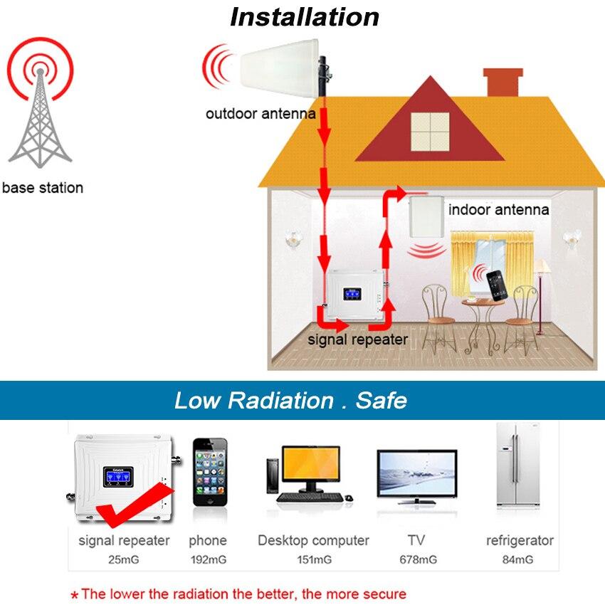 Lintratek 2g 3g 4g Tri banda de señal de 900 de 1800, 2100 GSM WCDMA UMTS y LTE repetidor de celular amplificador Triple banda de señal de teléfono celular de la telefonía móvil repetidor de señal de juego de la antena - 3