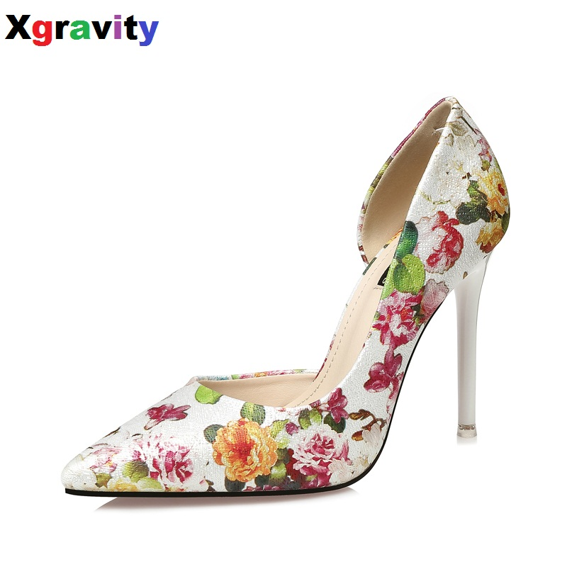 Xgravity Spring Autumn New Flower Pointed Toe Dress Shoes Elegant Sexy Party Shoes Girls High Heel Pumps Sexy Footwear A003 new arrival lady fashion high heel shoes pointed toe dress shoes elegant flower closed toe party summer evening sandals c131