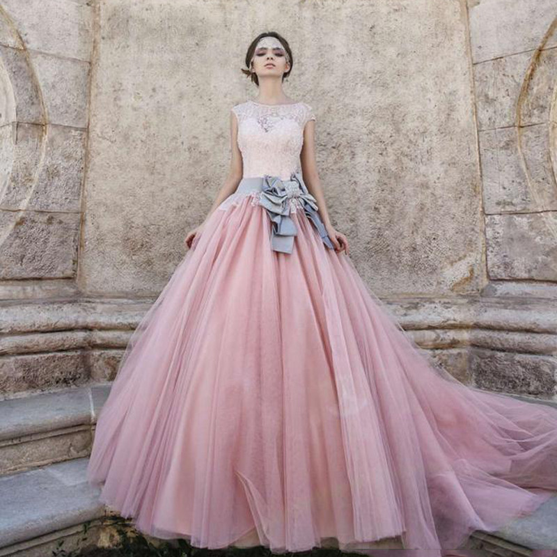 2016 Princesa Cenicienta Vestidos de Noche Cap Mangas Rosa Melocotón ...