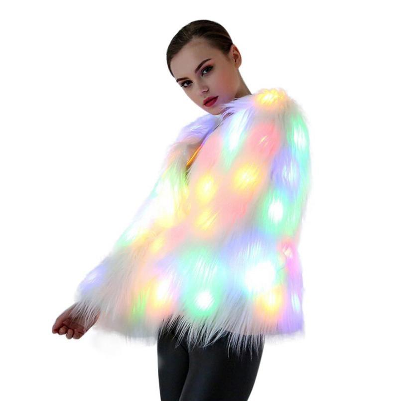 A Jean Discothèque Longue Halloween Manteau Femme Nouveau Outwear Costumes Vestes Noël Manche Femmes Scène Fourrure 2017 De Led Danseur Veste gxHnZvvqU