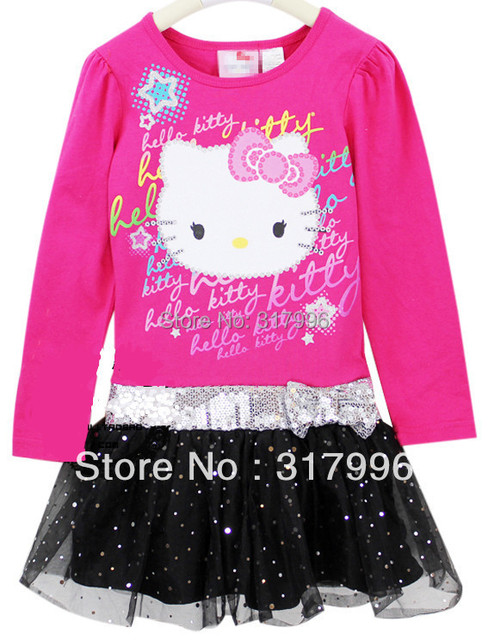 Free shipping hello kitty girls long sleeve shirt dress,girl dress,children dress,5pcs/lot