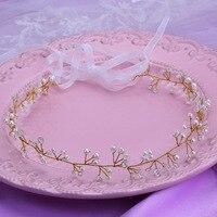 Free Shippng Silk Yarn Gold Pearl Bridal Hairbands Wedding Accessories Bridal Crystal Tiara Headband Handmade Hair