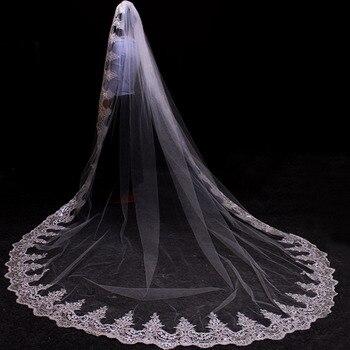 31f3645592 Fotos reales de una capa Bling lentejuelas de encaje de 3 metros de largo  Catedral boda velo 3 M velo de novia con peine Accesorios