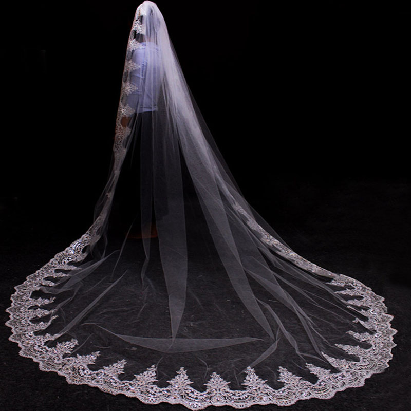 Real Photos One Layer Bling Sequins Lace 3 Meters Long Cathedral Wedding Veil 3 M Bridal Veil With Comb Accessories