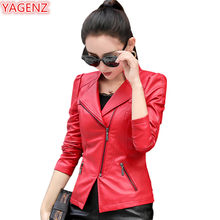 YAGENZ Spring Autumn Coats Womens Leather Jacket Short paragraph Plus size 4XL Female Small Leather Coat Fashion Solid color 964(China)