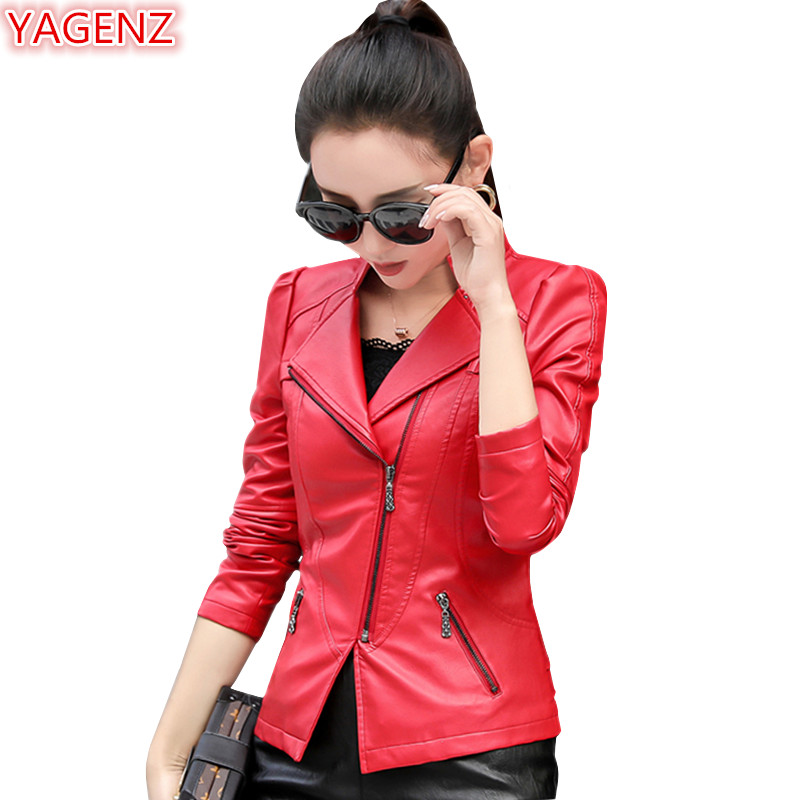 YAGENZ Spring Autumn Coats Womens   Leather   Jacket Short paragraph Plus size 4XL Female Small   Leather   Coat Fashion Solid color 964