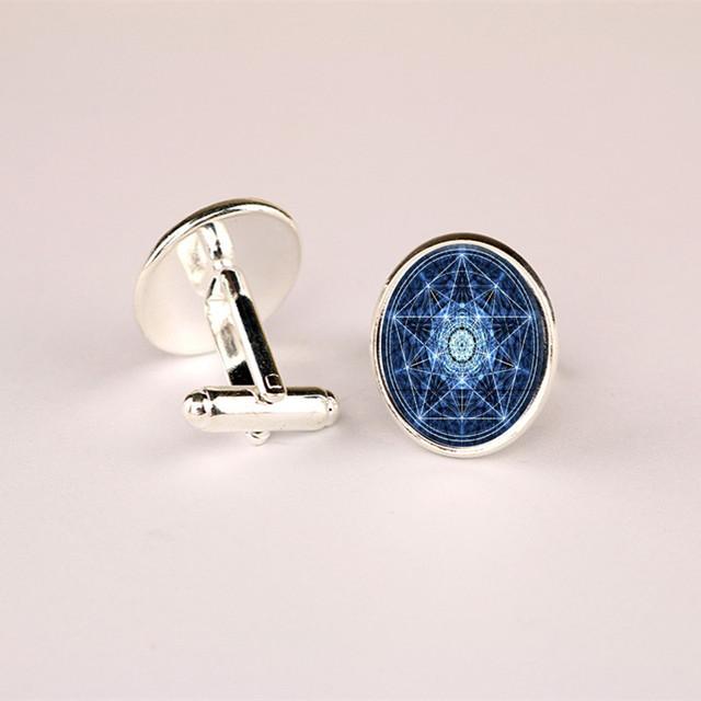 Hot! Handmade Cufflink Blue Glass Charms Personality High Jewelry