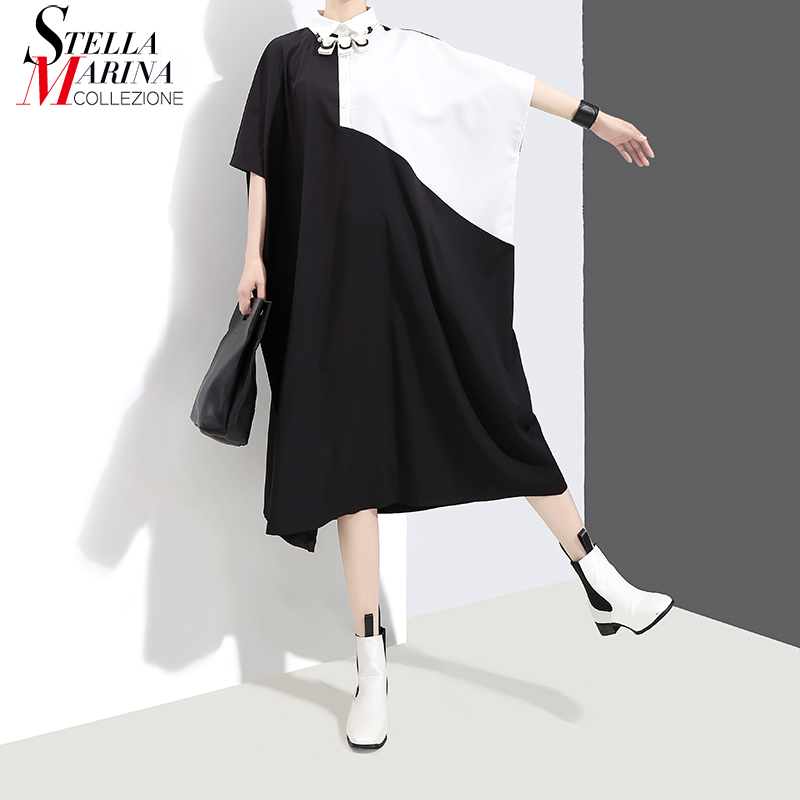 New 2018 Korean Style Black Blue Patchwork Hit Color Design Plus Size Dress Batwing Sleeve Girl Special Wear Casual Dresses 3630