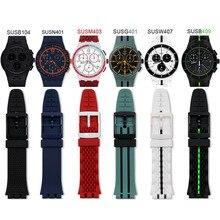 Pulseira de silicone para relógio, pulseira de fivela de pino de silicone acessórios 20mm para swatch susb400 susw402, pulseira esportiva e impermeável