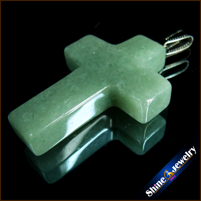 Wholesale 40x28x10 mm Big Cross Necklace Natural Gem Stone Aventurine Cross Pendants Charms fit Necklaces Jewelry Making GS319