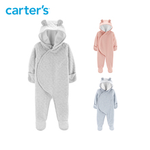 Carter s autumn winter solid cuter ears hooded long sleeve footies baby girl baby boys clothes