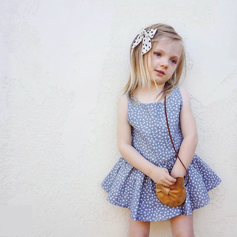 BORUMEX Super cute girl floral skirt summer new blue European and American girls