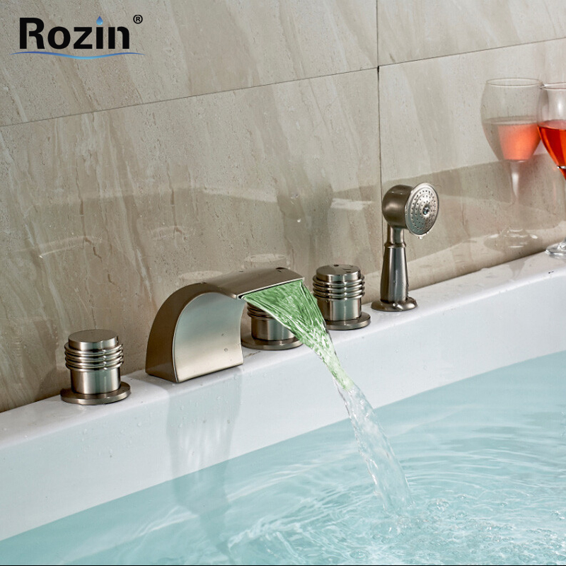 Attractive Color Changing LED Bathtub Faucet U0026 Tub Mixer Taps With Hand Shower Brushed  Nickel Deluxe 5 Pieces Sets In Shower Faucets From Home Improvement On ...