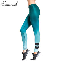 Simenual Gradient striped summer leggings jeggings for women sportswear bodybuilding fitness elastic legging athleisure pants