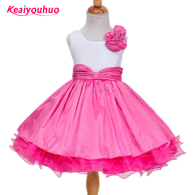 Baby Girls Flower Dresses Toddler Infant Princess Costume With Flower And Bow Children's Clothes Wedding Party 2-7yrs dresses hot summer flower girls dress for wedding and party infant princess girl dresses toddler costume baby kids clothes