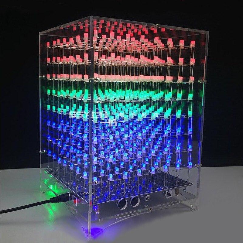 DIY 8x8x8 512 LED 3D Licht Cube Kit Acryl Fall Musik Spektrum Für Werbung Display Elektronische produktion Shell Fall