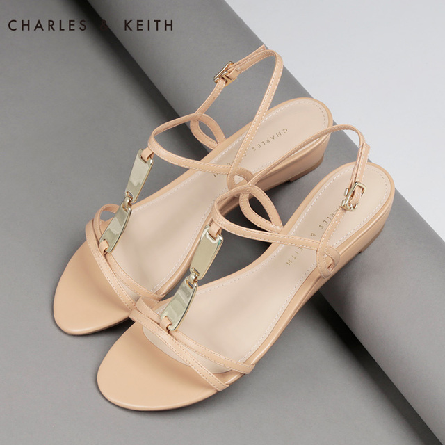 cd9f7a49eb 2015 Summer Charles Keith Wedge Sandals Buckle Strap Solid Color Metal  Decoration Hollow Out Sandals