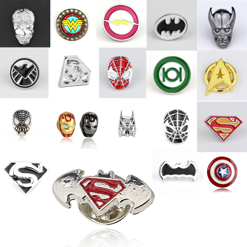 The Avengers Iron Man Captain America Superman Wonder woman Thor Hulk Button Badges Cartoon Brooch Pin Buttons Pins badges