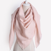 2017 New Brand Designer Winter Fall For Women Scarf Triangle Solid Color Cashmere Warm Large Shawl
