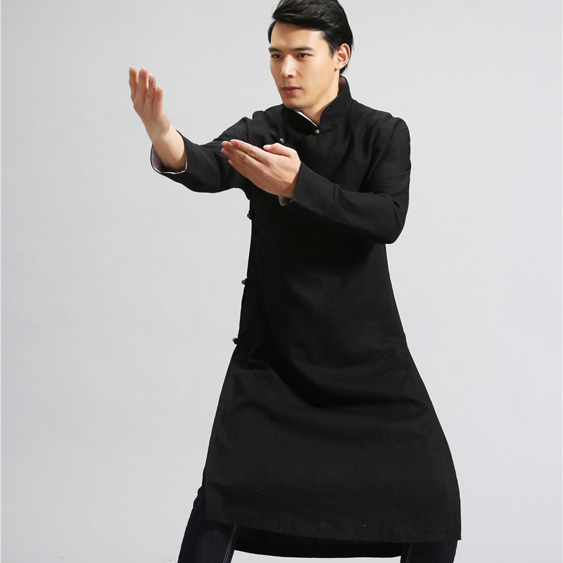 New Pure Linen Retro Men's Wing Chun Kung Fu Long Robe Long Trench Ip Man Robes Windbreaker Traditional Chinese Dust Coat master recommend movement triangle frame wing chun wooden dummy donnie ye used standard kung fu wooden dummy martial arts