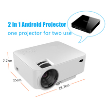 LCD Mini Pico Proyector 1500 Lúmenes LED Wireless Android Proyector Conjunto en Android 4.4 WIFI Bluetooth HDMI Apoyo Miracast Airplay