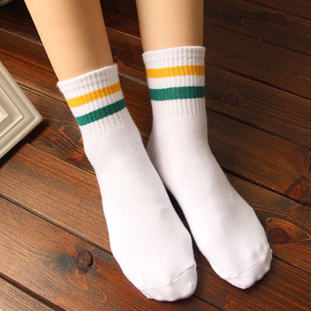 Classic Women Men 2 Two Stripes Cotton Socks Retro Old School Hiphop Skate Short Meias Calcetine harajuku Black white cheap sock