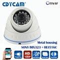 Cámara domo ip de interior sony imx323 + hi3516c p2p onvif cámara ip hd 1080 p red cctv 2.0mp cámara versión de la noche cámara ip