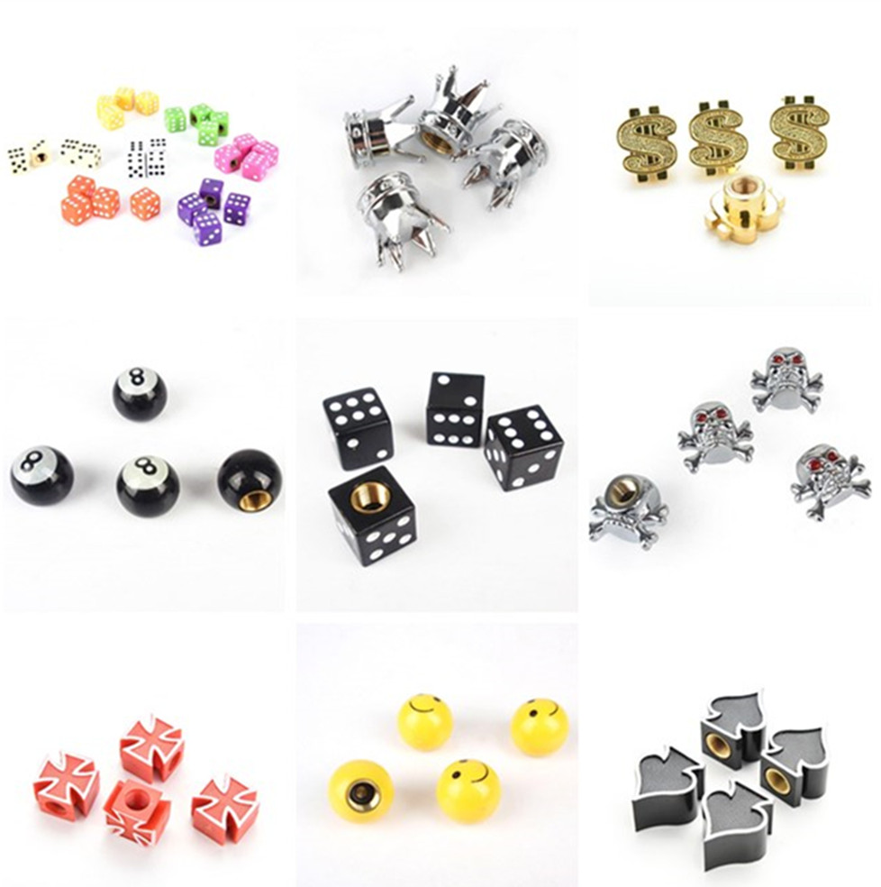 4Pcs/lot Universal Dice Car Tyre Air Valve Cap Bike Bicycle Tires Valve Caps On The Wheels Car Styling